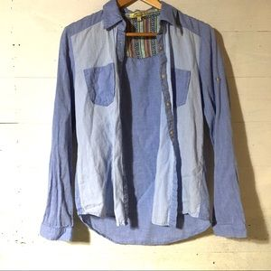 Cecico Chambray Aztec Button Up Shirt